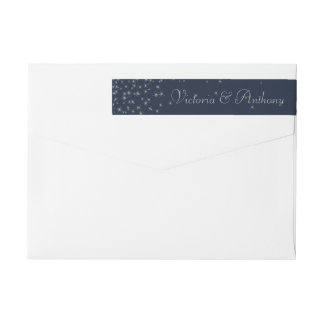 Elegant Navy & Silver Falling Stars Wedding Wrap Around Label