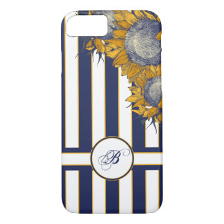 Elegant Navy Sunflower Monogram iPhone 7 Case