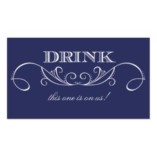 Elegant Navy Swirl Wedding Drink Ticket Business Card