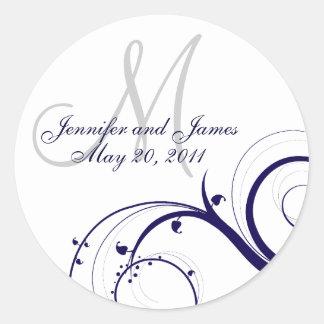 Elegant Navy White Swirl Monogram Wedding Seal