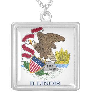 Elegant Necklace with Flag of Illinois