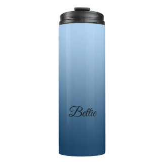 Elegant Neutral Gradient Blue with Custom Name Thermal Tumbler