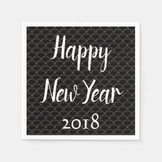 Elegant New Year Black and White Paper Napkin