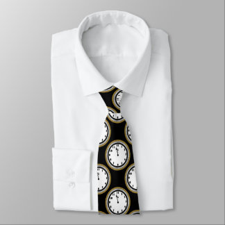 Elegant New Years Eve clock pattern tie