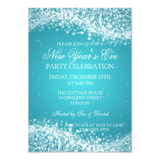 Elegant New Years Eve Sparkling Wave Turquoise Card