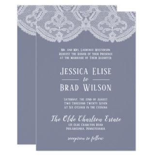 Elegant Nostalgic Lace Steel Blue   White Wedding Card