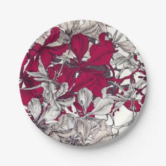 Elegant Nouveau Art vintage floral painting Paper Plate