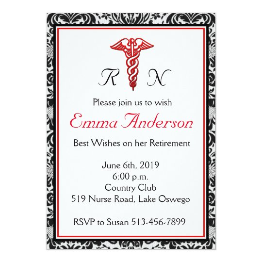 Elegant Nurse Retirement Party Invitation