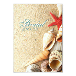 "elegant ocean sand seashells beach bridal shower 5"" x 7"" invitation card"