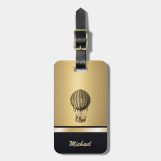 Elegant old flying balloon gold personalized luggage tag