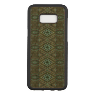 Elegant Olive Green Turquoise Diamond Pattern Carved Samsung Galaxy S8+ Case