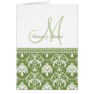 Elegant Olive Green & White Damask Thank You Card