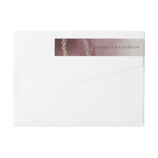 Elegant Ombre Watercolor in Cranberry Wedding Wrap Around Label