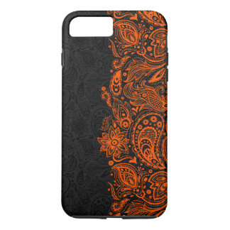 Elegant orange & Black Floral Paisley Lace iPhone 8 Plus/7 Plus Case