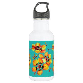 Elegant Orange Flowers - Aqua 532 Ml Water Bottle