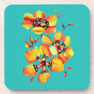 Elegant Orange Flowers - Aqua Coaster
