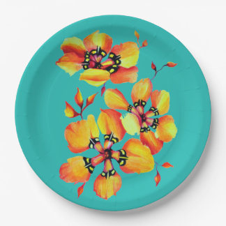 Elegant Orange Flowers - Aqua- Customize your Own Paper Plate