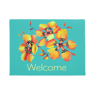 Elegant Orange Flowers - Aqua Doormat