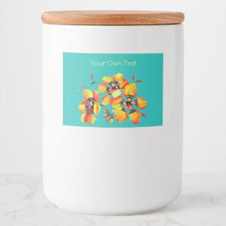 Elegant Orange Flowers - Aqua Food Label
