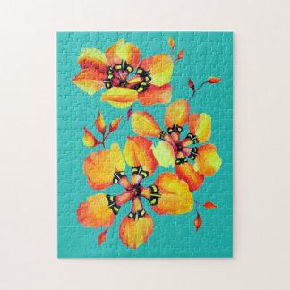 Elegant Orange Flowers -Aqua Jigsaw Puzzle
