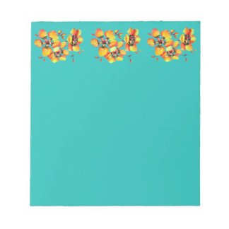Elegant Orange Flowers - Aqua Notepad