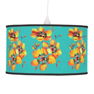 Elegant Orange Flowers - Aqua Pendant Lamp