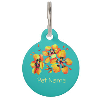 Elegant Orange Flowers - Aqua Pet ID Tag