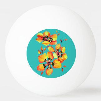 Elegant Orange Flowers - Aqua Ping Pong Ball