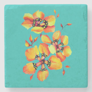 Elegant Orange Flowers - Aqua Stone Coaster