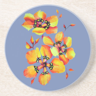Elegant Orange Flowers - Blue Grey Coaster