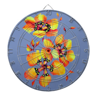 Elegant Orange Flowers - Blue Grey Dartboard
