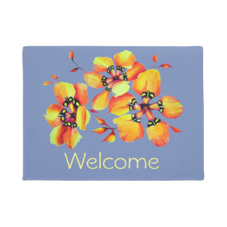 Elegant Orange Flowers - Blue Grey Doormat