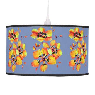 Elegant Orange Flowers - Blue Grey Pendant Lamp