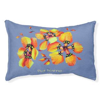 Elegant Orange Flowers - Blue Grey Pet Bed