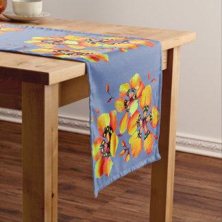 Elegant Orange Flowers - Blue Grey Short Table Runner