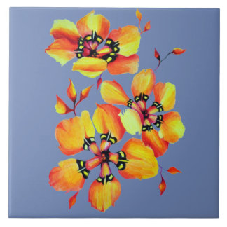 Elegant Orange Flowers -  Blue Grey Tile