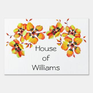 Elegant Orange Flowers - Customize your Own Sign