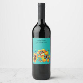 Elegant Orange Flowers - Customize your Own Wine Label