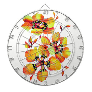 Elegant Orange Flowers Dartboard