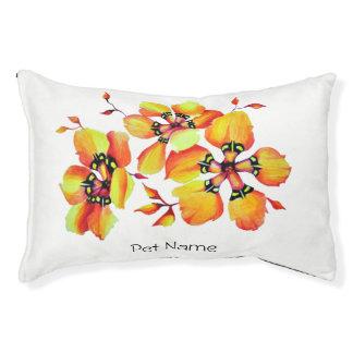 Elegant Orange Flowers Pet Bed