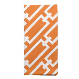Elegant Orange Geometric Links Pattern Printed Napkin