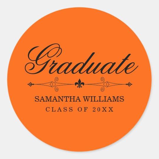 Elegant Orange Graduation Sticker with Black Text