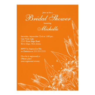 Elegant orange Lily Flower Bridal Shower Invitation