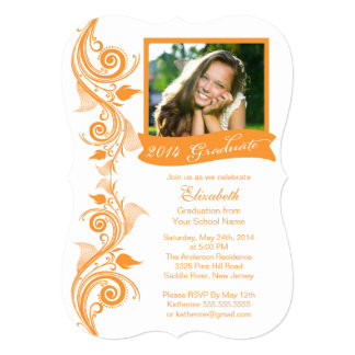 "Elegant Orange Photo Graduation Party Invitation 5"" X 7"" Invitation Card"