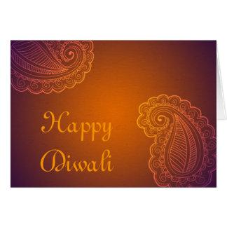 Elegant Orange Purple Paisley Happy Diwali Card