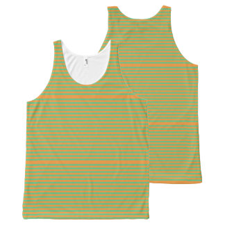 Elegant orange Stripes on Spring Green. All-Over-Print Tank Top