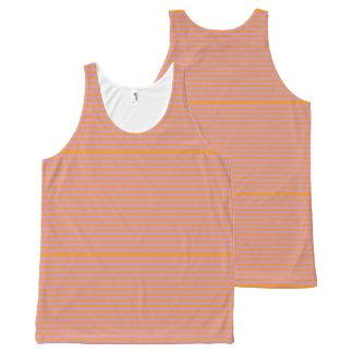 Elegant orange Stripes on Spring Pink. All-Over-Print Tank Top