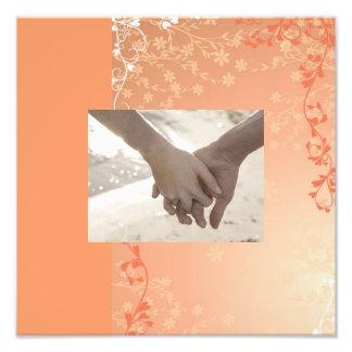 elegant orange white  leave pattern fall wedding photographic print
