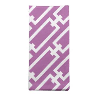 Elegant Orchid Purple Geometric Links Pattern Printed Napkins