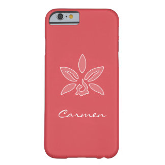Elegant Orchid Simple Hot Red Flower With Name Barely There iPhone 6 Case
